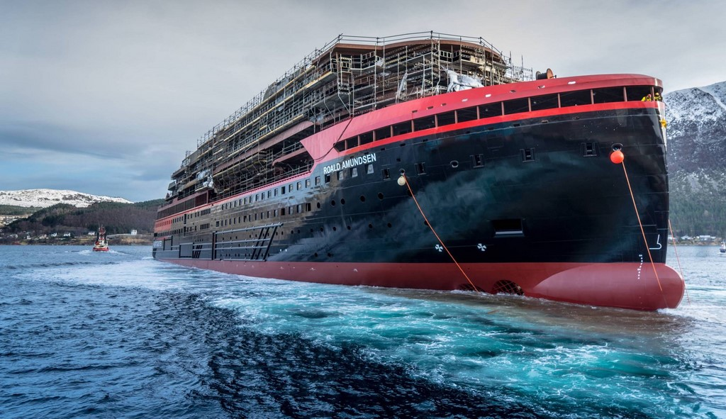 Hurtigruten, Roald Amundsen, new, expedition, ships, vessels, cruise, Antarctica, Chile, South America, adventure, tourism, float out, Norway, construction