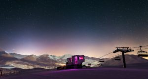 Over the Moon, snow groomer, suite, erotic, luxury, stay, hotel, mountain, Alps, France, resort, La Plagne, Arpette, summit, Bellecôte