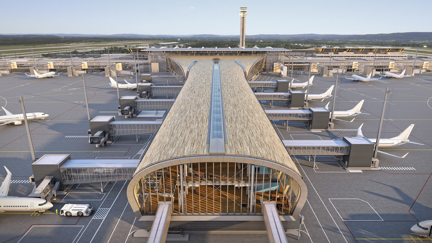 Oslo airport, design, architecture, Gardermoen, award, construction, pier, Norway