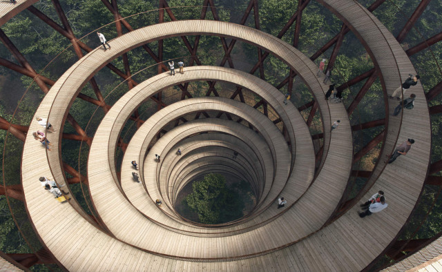 Camp Adventure, Effekt, Zealand, Denmark, Copenhagen, visit, tourism, design, construction, spiral, treetop walk, view