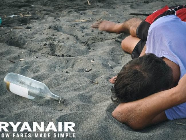 Ryanair, tweet, controversy, Twitter, ad, marketing, advertisement, young people, booze, drink, binge, alcohol, bottle, beach, passed out, exams, students, social media