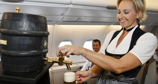 beer, keg, flights, Munich, Germany, costume, traditional, tapping, Oktoberfest, Lufthansa, cabin crew, menu, lounges, airport