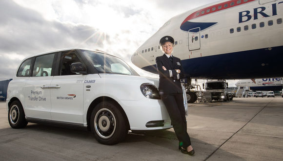 British Airways, BA, taxi, cab, tarmac, airport, transfer, flight, premium, first class, meet, aircraft, chauffeur, electric, car, runway, drive, passenger, transit, vehicle, side, plane, London