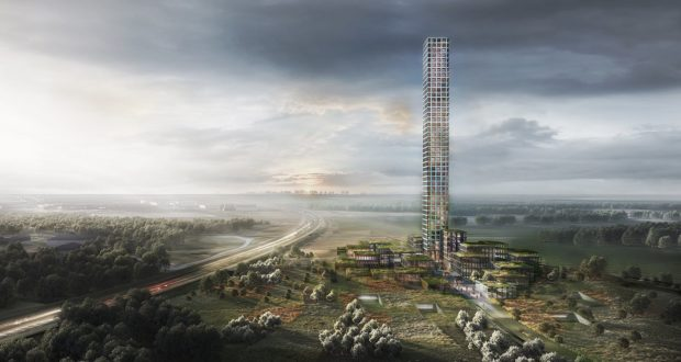 Dorte Mandrup Arkitekter, Bestseller, tower, village, green light, build, project, Jutland, tallest, biggest, Brande, facilities, Denmark, construction, design, architecture