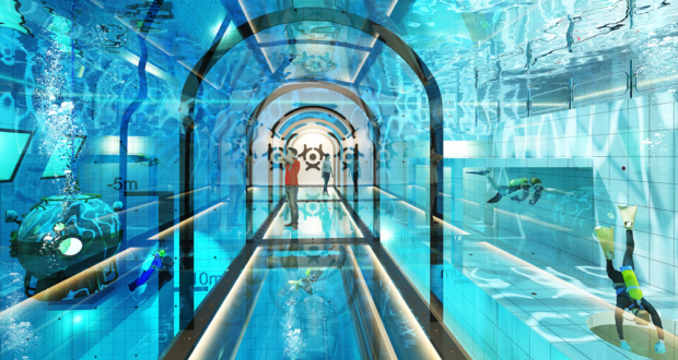 Flyspot, Deepspot, deepest, pool, swimming, diving, scuba, world, Warsaw, Poland, Mszczonow, Termy, water park, freefall simulator, indoor skydiving, fun, visit, travel, tourism, MICE, conference, organise, incentives, unusual, special, hotel, rooms, view