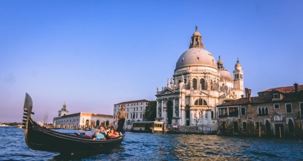 Venice, canal, boat, cathedral