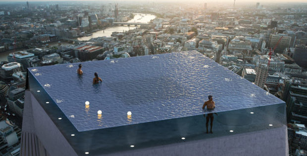 infinity pool, skyscraper, hotel, London, heated